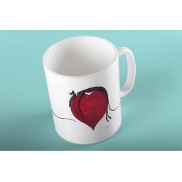 Black Greyhound Draped over a Heart Mug