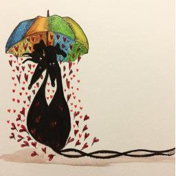 Showered by Hearts - A4 print by Nellie Doodles