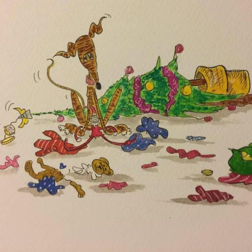 The elf did it whilst I was napping - A4 print by Nellie Doodles