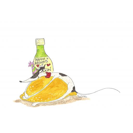 Gin and Lemon A4 print, A5 or A6 blank cards