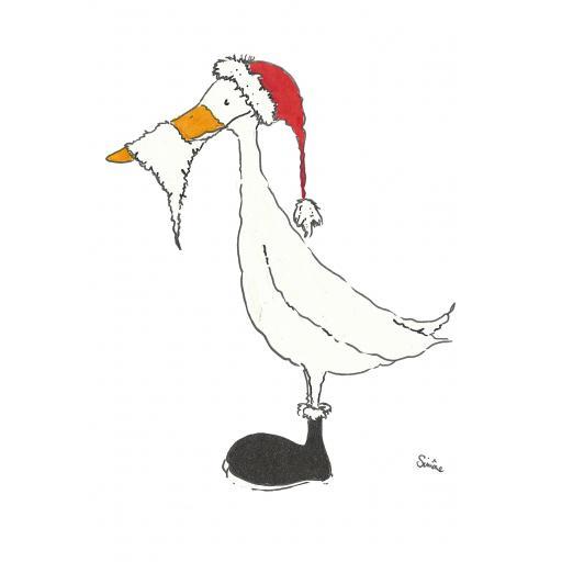 Santa Duck - A4 print, A5 or A6 blank card