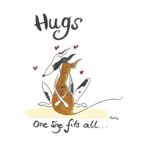 Hugs, one size fits all - a4 print, A5 or A6 blank card